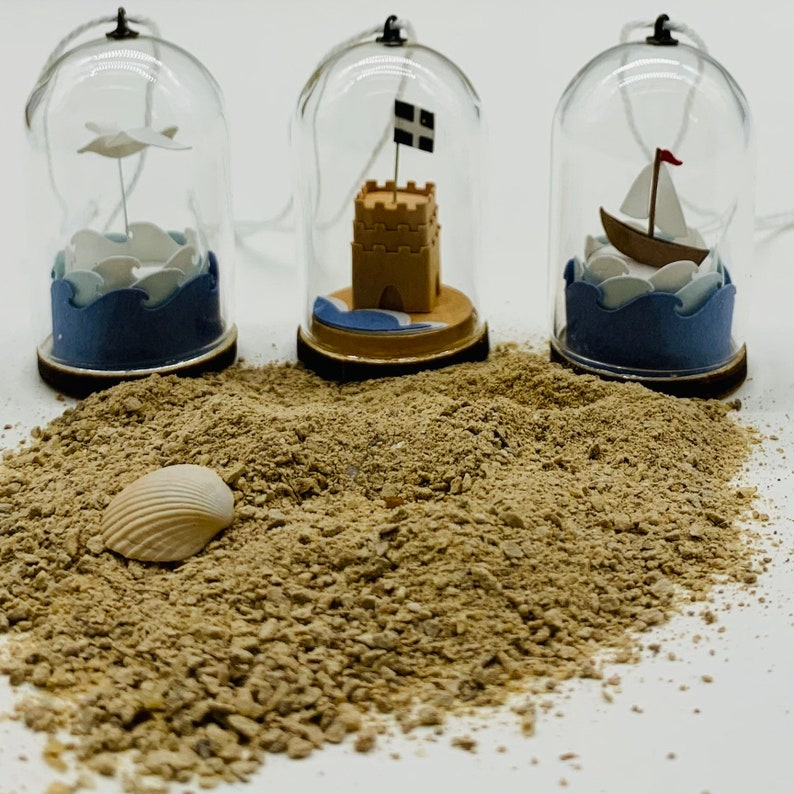 Coastal Themed Miniature Glass Domes with Paper Sailing Boat image 0