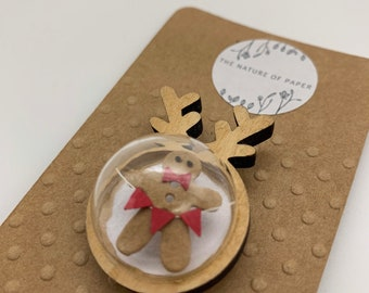Miniature Gingerbread Brooch with Antlers