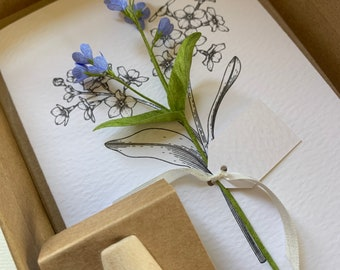 Forget Me Not Keepsake A6 Card and Crepe Flowers