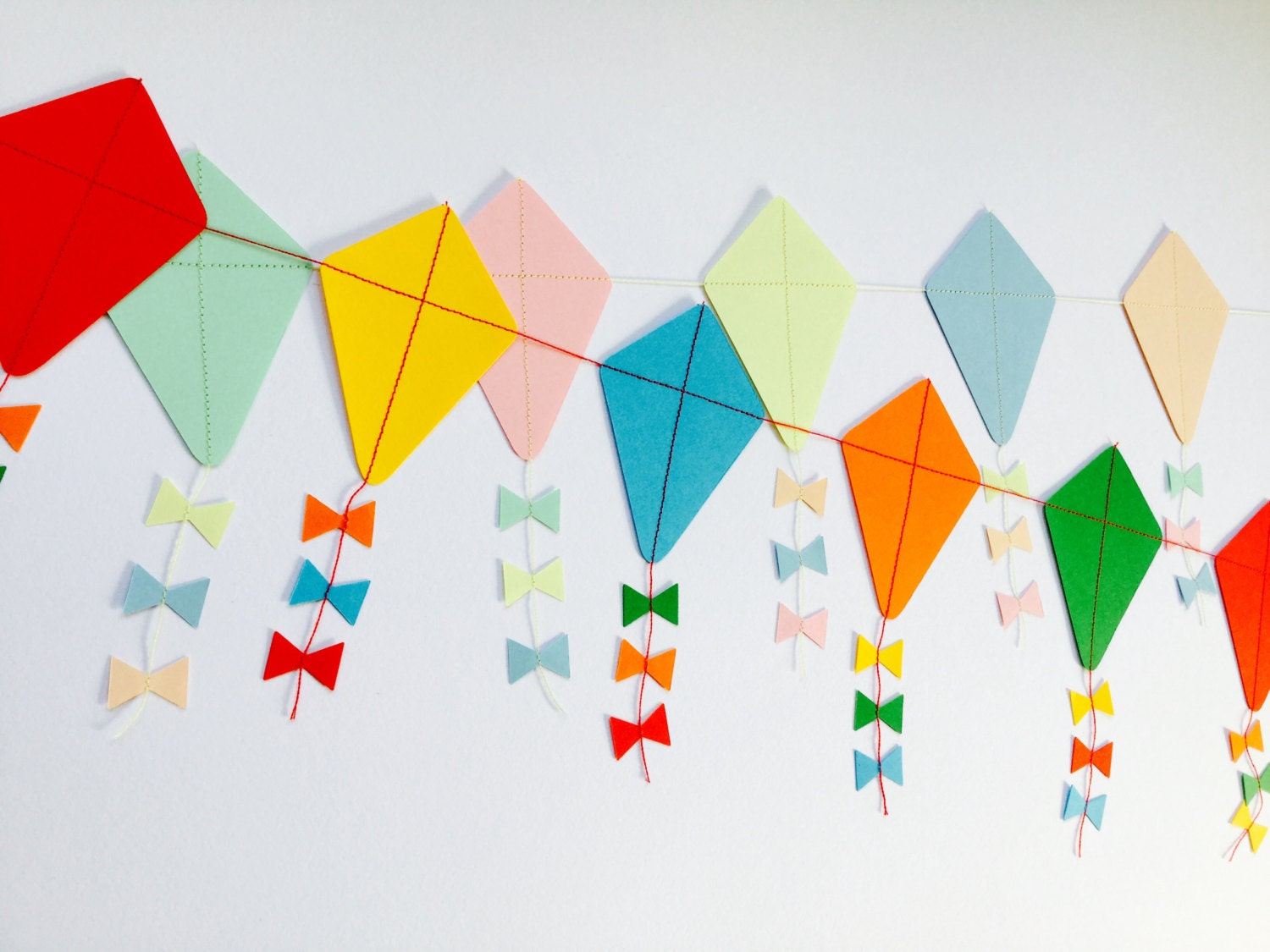 Lets Go Fly A Kite Paper Kite Garland Etsy