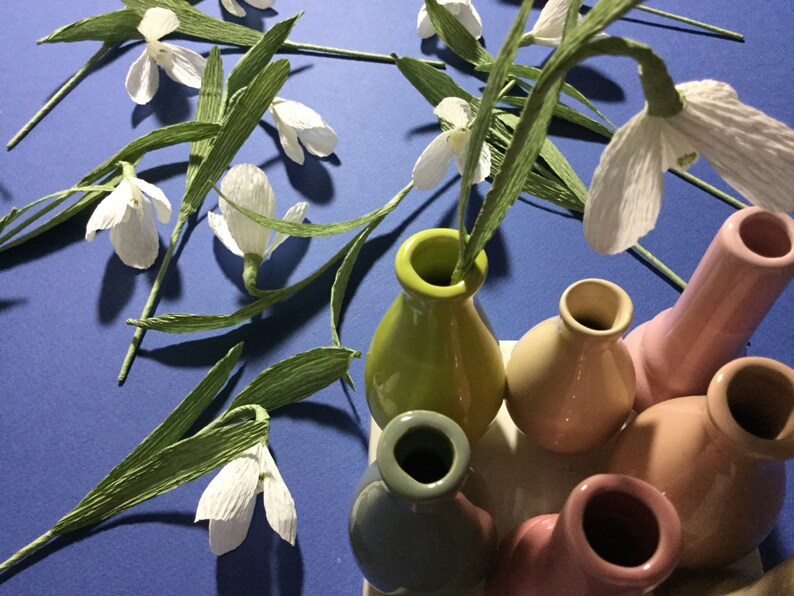 Crepe Paper Snowdrop Galanthus Flower image 0