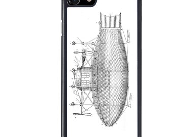 Flight Phone Case, Airship Plans Design, Flying, Flight, Science, iPhone 5 5s 5c 6 6s 6+ 6s+ SE 7 7+ 8 8+ X Galaxy S7 S8 S8+, Edge, Plus