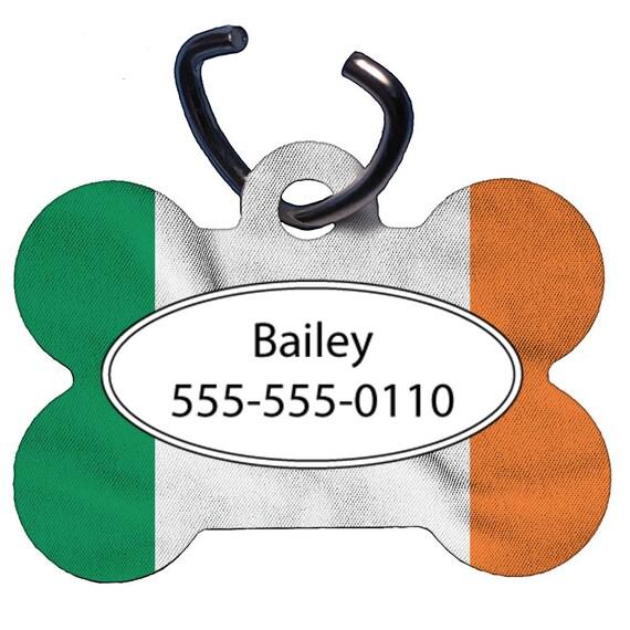 Étiquette d'identification pour animaux de compagnie, étiquette de chien, une face, recto-verso, personnalisé, OS en forme, en aluminium, Irlande drapeau Image Design, irlandais, personnalisé, nom, numéro de téléphone