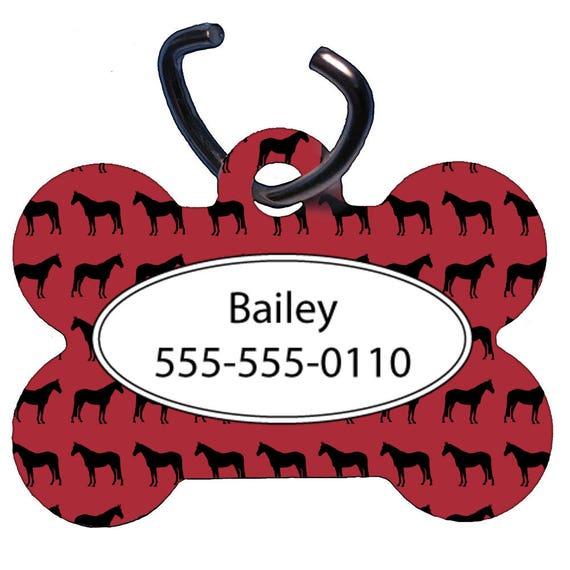 Tag pour animaux de compagnie, Dog Tag, un verso, étiquette d'identification pour animaux deux faces, personnalisé, OS en forme de, aluminium, Design cheval rouge, ferme, animaux, équestre