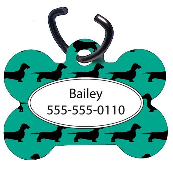 Tag pour animaux de compagnie, étiquette de chien, une face, deux faces, personnalisé Pet ID Tag, OS Design en forme de, aluminium, Teal teckel poil ras, teckel