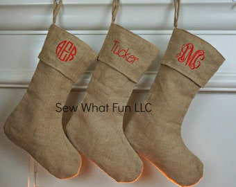 Burlap Christmas Stockings.Burlap Stocking Etsy