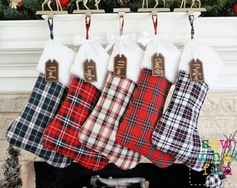 Thick Luxury Fur Farmhouse Plaid Christmas stocking, Plaid christmas stocking, stockings, fur stocking, personalized stocking, Christmas