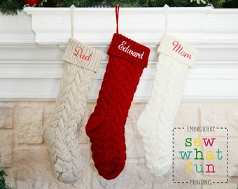 Knit Christmas Stocking, personalized, Christmas stocking, stockings, christmas, monogrammed, monogram, embroidered, knit stocking, knit