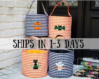 Trick or treat bag, Trick-or-treat bucket,  Halloween Bucket, Personalized, Halloween Basket, monogram, trick-or-treat, Halloween bag