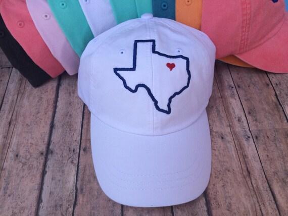 5b082f33b Texas Heart Baseball Hat, Womens hat, monogrammed hat, monogram hat,  monogrammed cap, womens baseball cap, bridesmaids hats, Texas hat