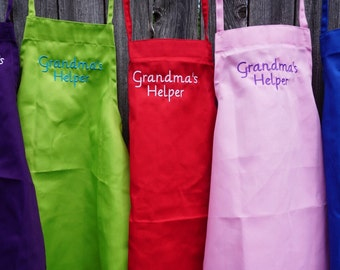 Grandmas helper, Embroidered Child Apron, kid apron, child apron, apron, Kids apron, personalized gift, child gift, adult,