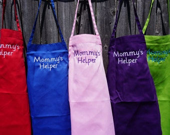Embroidered Child Apron, kid apron, child apron, Mommys helper, apron, Kids apron, personalized gift, child gift, adult, childs apron