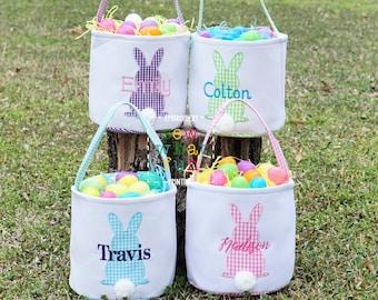 Easter basket, Personalized Easter Basket, monogram easter basket, girls basket, boys basket, girls easter basket, embroidered, Check