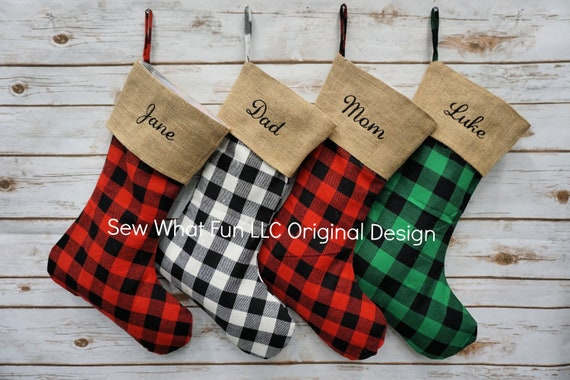 Personalized Christmas Stockings.Personalized Christmas Stocking Bufallo Plaid Stocking Christmas Stocking Christmas Stockings Personalized Burlap Family Plaid Holiday