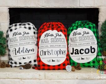 Buffalo Plaid Santa sack, Personalized Santa Sack, santa sack, personalized, christmas bag, santa bag, canvas bag, buffalo plaid, santa, bag