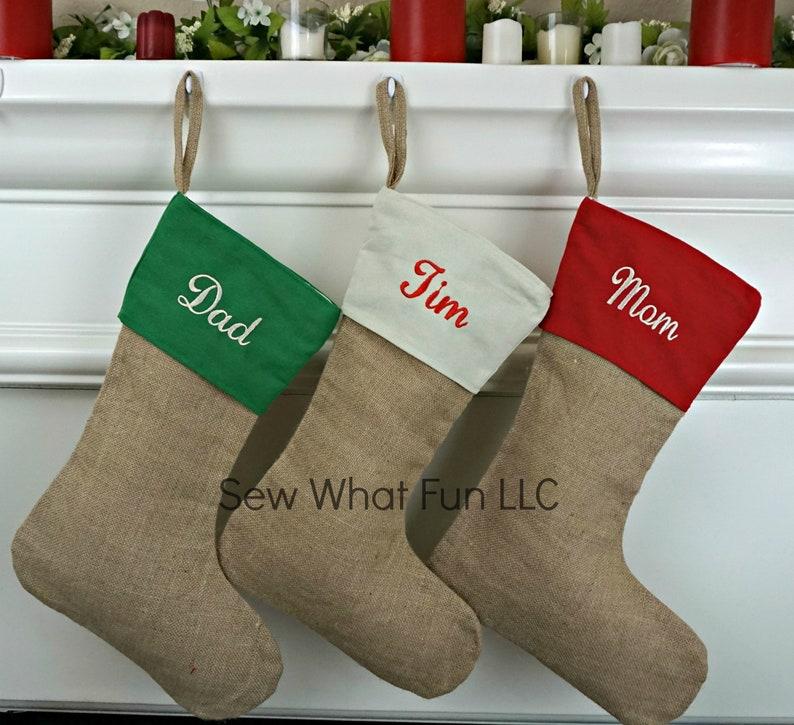 Christmas Stocking Personalized Stocking Burlap Stocking Stocking Christmas Burlap Stockings Stockings Personalized Holiday Family