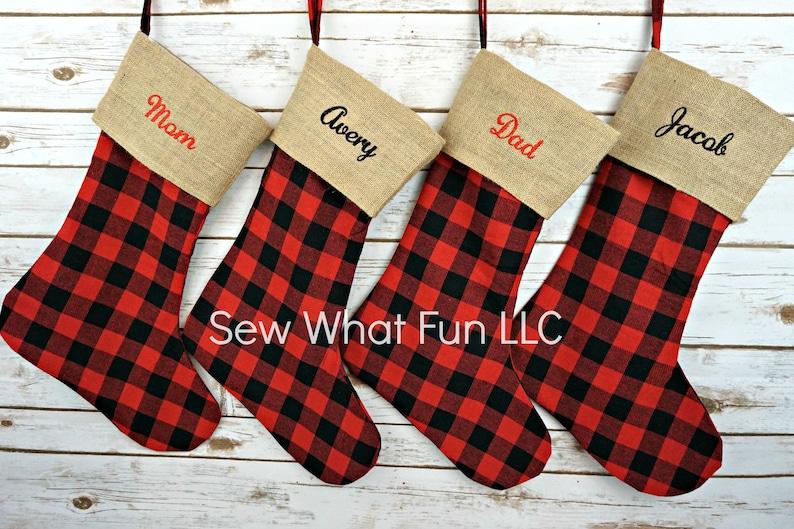 Personalized Christmas Stocking Bufallo Plaid Stocking Christmas Stocking Christmas Stockings Personalized Burlap Family Plaid Holiday