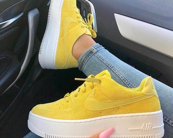 2e997f5acac Swarovski Nike Air Force 1 Sage Low Women Casual Sneakers Made with  SWAROVSKI® Crystals - Yellow