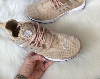 Women s Nike Air Presto Running Shoes Made with SWAROVSKI® Crystals - Light  Tan White 61770282f