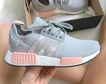 ... spain australia swarovski adidas nmd r1 runner women made with swarovski  xirius rose crystals grey pink 4af95f699