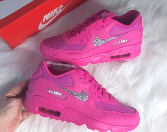 Bling Swarovski Nike Air Max 90 Youth Women Made with Swarovski Crystals -  Hot Pink a7d3391e5f