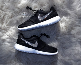 2b19dd4c1369a Nike Roshe One made with SWAROVSKI® Crystals - Black White Metallic Platinum