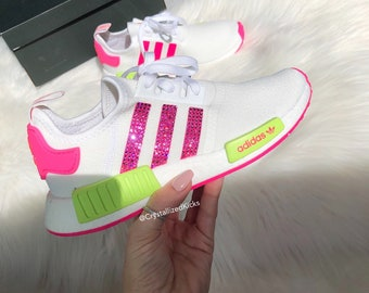 competitive price cd526 10c4c Swarovski Adidas NMD R1 Runner Women Made with SWAROVSKI® Xirius Rose  Crystals - White Neon Pink