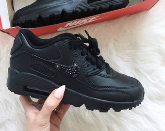 Nike Air Max 90 White Shoes Made with SWAROVSKI® Crystals - black black  4bd61facd