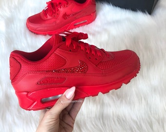 9eadcb0781a131 Swarovski Nike Air Max 90 Youth Women Made with Swarovski Crystals - Red