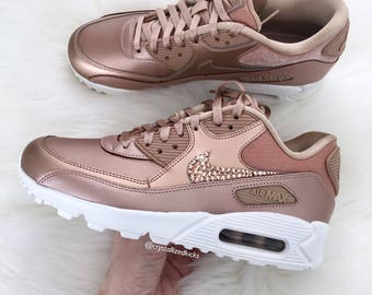 ... discount code for swarovski womens nike air max 90 gold made with  swarovski crystals rose gold 685046a7930c