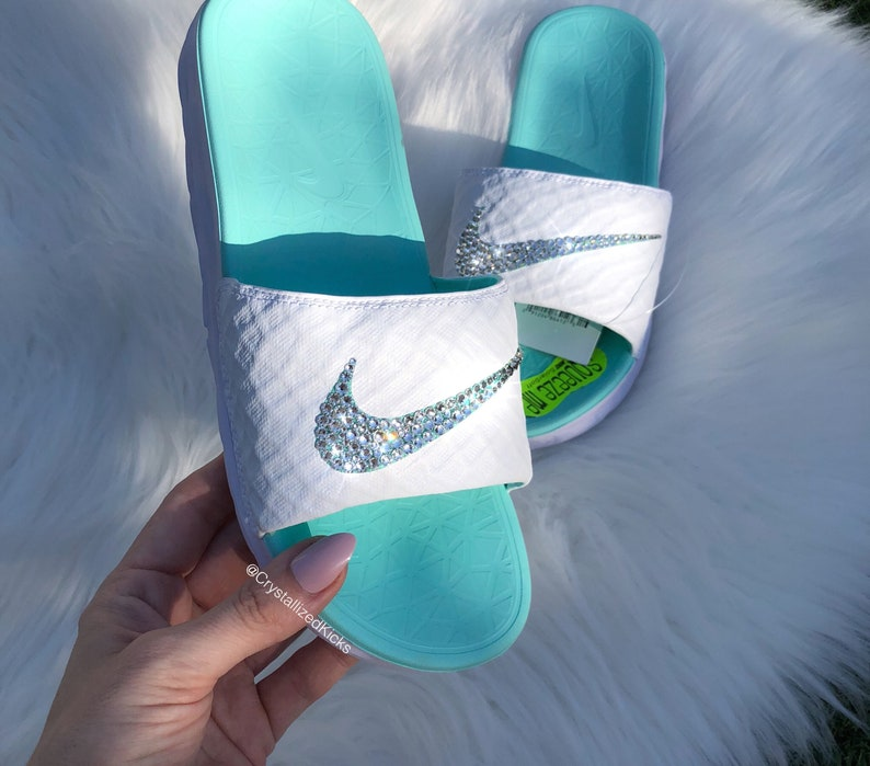 4a4abcd42 Swarovski Women s Nike Benassi Solarsoft Slides Made with