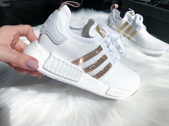 4014c0ad515a ... White Rose Gold Adidas NMD R1 Runner Made with SWAROVSKI® Etsy ...