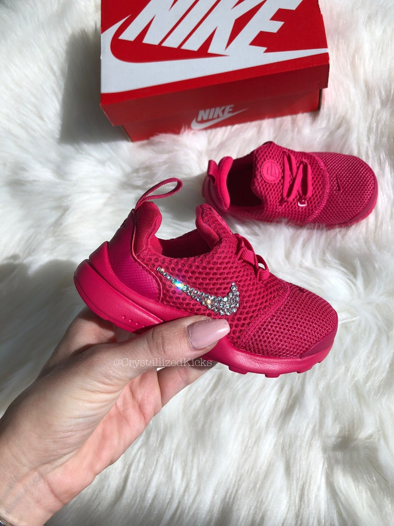 the best attitude 4f60b 57aad Nike Presto Fly Pink Toddler Girs Made with SWAROVSKI® Crystals - Hot Pink