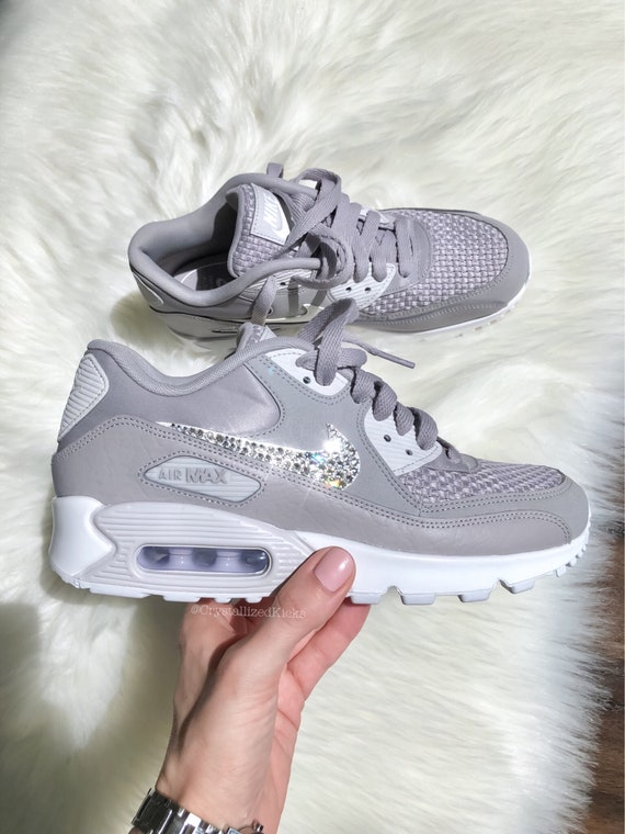 Women s Nike Air Max 90 Black Grey White Made with  1d41b9519