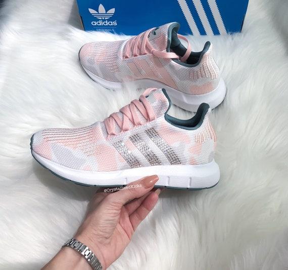 Swarovski Adidas Swift Run Women Made with SWAROVSKI® Xirius Rose Crystals WhiteWhite