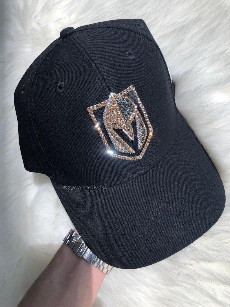30f7f79ee4a Bling Swarovski Vegas Golden Knights Black Hat Baseball Cap