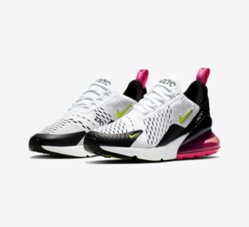 sports shoes a1ed0 1c5eb Swarovski Nike Women Girls Grade School Nike Air Max 270 Made with  Swarovski Crystals - White/Black/Pink/Neon