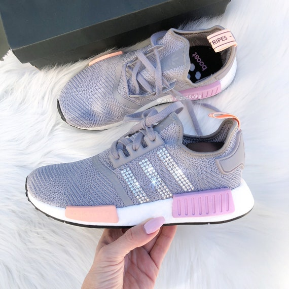 Swarovski Adidas NMD R1 Runner Women Made with Swarovski Crystals GreyPinkWhite