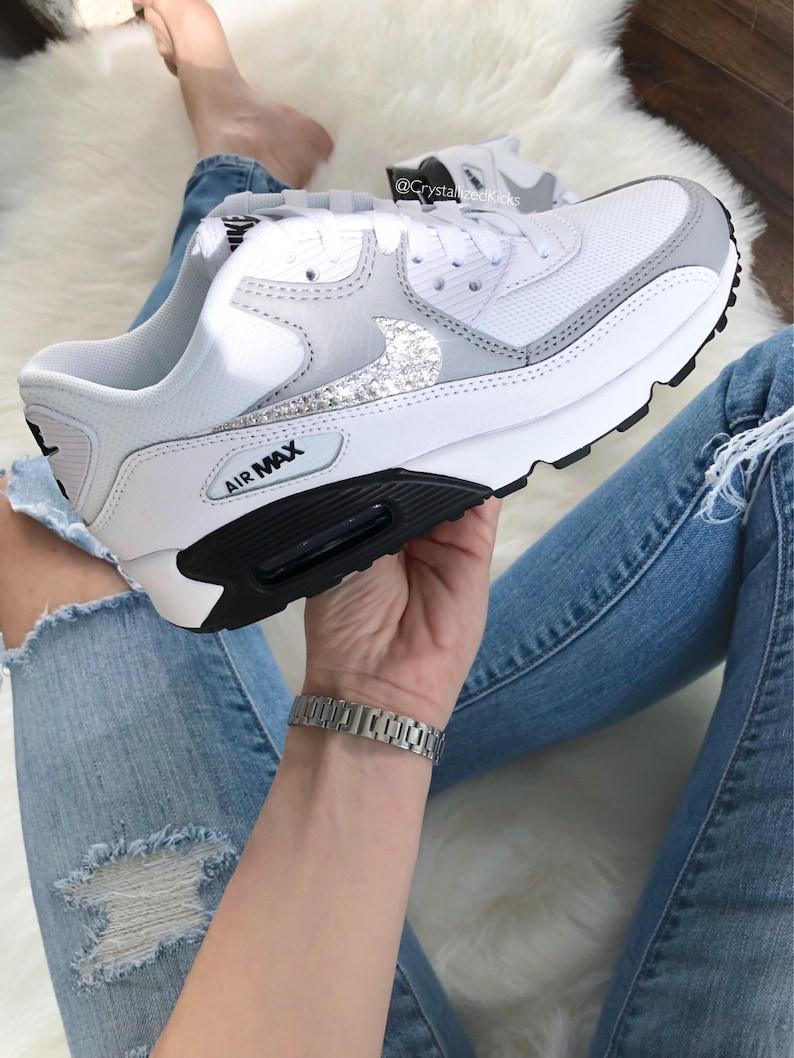 Swarovski Nike Air Max 90 Womens Lifestyle Sneakers Made with Swarovski® Crystals WhiteWhite | Leather