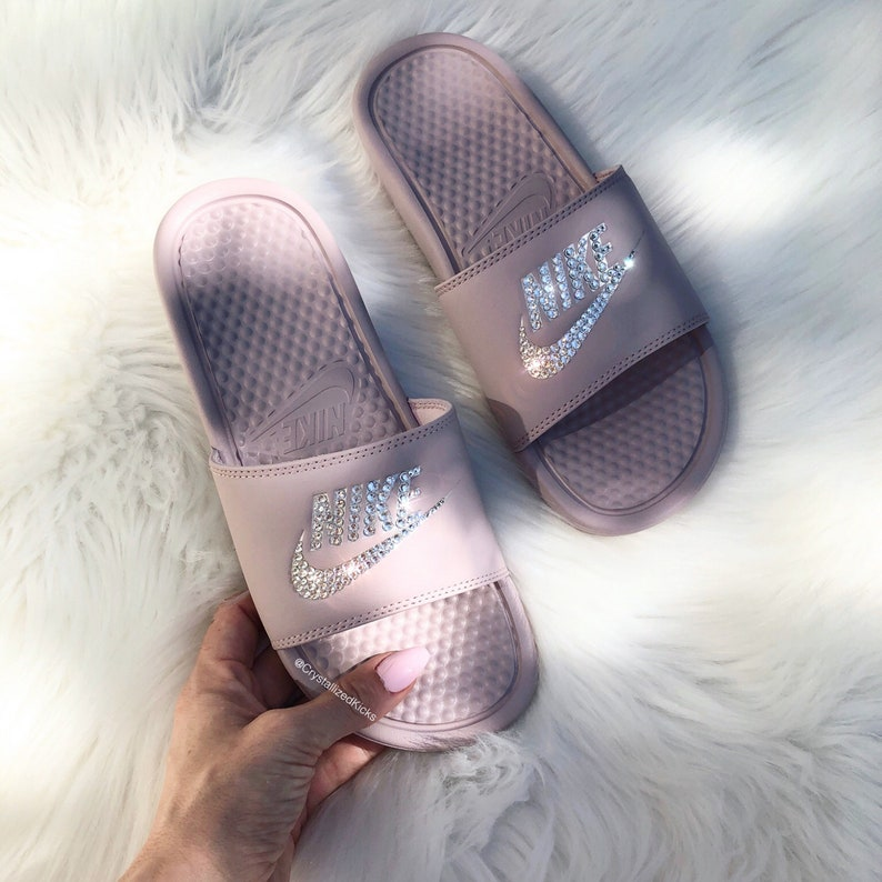best sneakers f53e0 06587 Swarovski Nike womens Benassi Slides Sandals Made with   Etsy