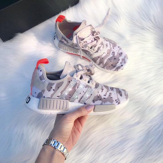 a543f9ccbdb33 Tan Camo Swarovski Adidas NMD R1 Women's Made with SWAROVSKI® Xirius Rose  Crystals