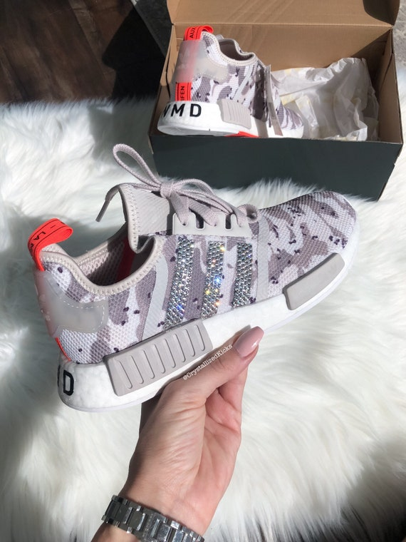 Tan Camo Swarovski Adidas NMD R1 Women's Made with SWAROVSKI® Xirius Rose Crystals