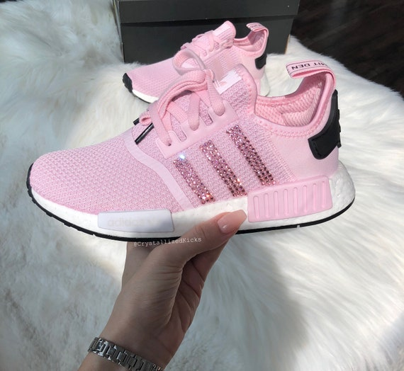 Swarovski Adidas NMD R1 Runner Women Made with SWAROVSKI® Xirius Rose Crystals PinkWhiteBlack