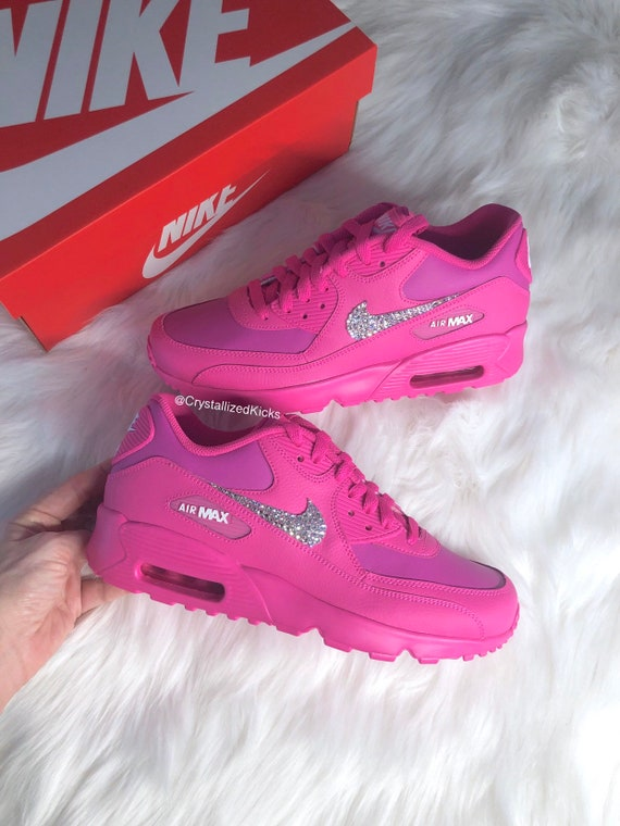 attractive price sale online new arrivals Crystallized Bling Swarovski Nike Air Max 90 Youth Women Made with  Swarovski Crystals - Hot Pink