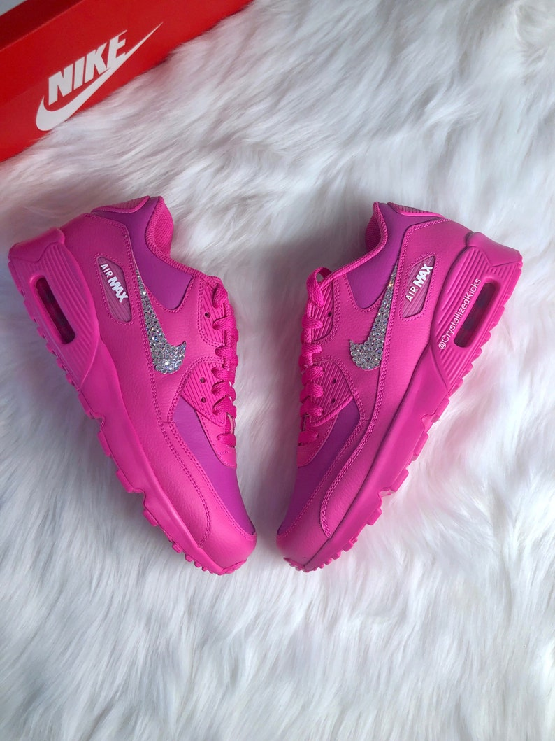 online retailer ff624 50df7 Bling Swarovski Nike Air Max 90 Youth Women Made with   Etsy