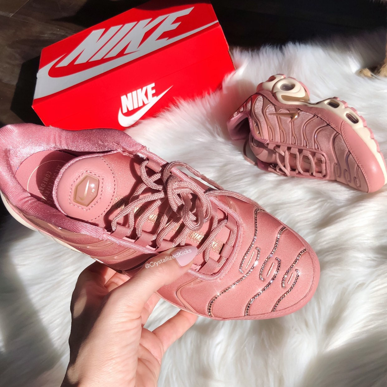 newest d502b d4a74 Swarovski Nike Air Max Plus Women's Made with Swarovski Crystals - Rust Pink