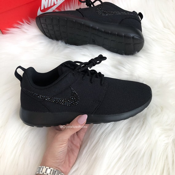 Swarovski Nike Negro Roshe One Casual Sneakers Negro Nike on Negro Made | Etsy 798086