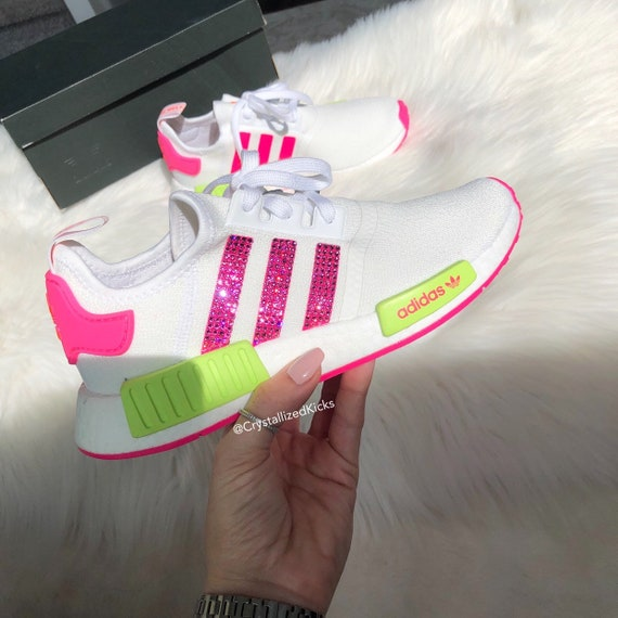 Swarovski Adidas NMD R1 Runner Women Made with SWAROVSKI® Xirius Rose Crystals WhiteNeonPink