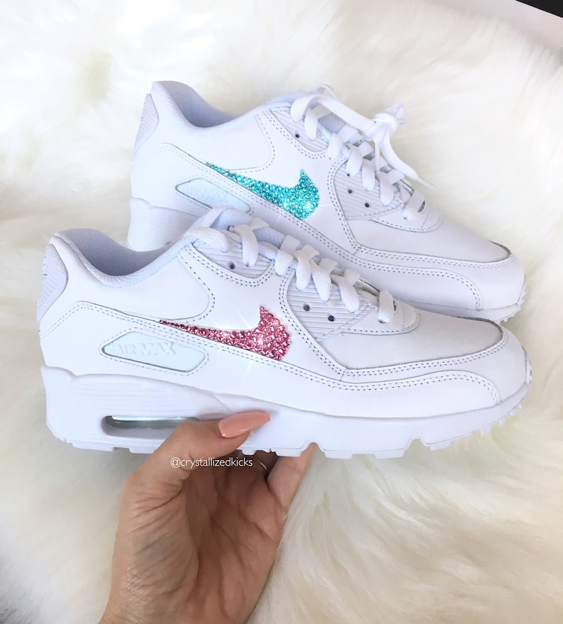 a3d6fc68c4 Nike Air Max 90 Womens White Shoes Made with SWAROVSKI® | Etsy