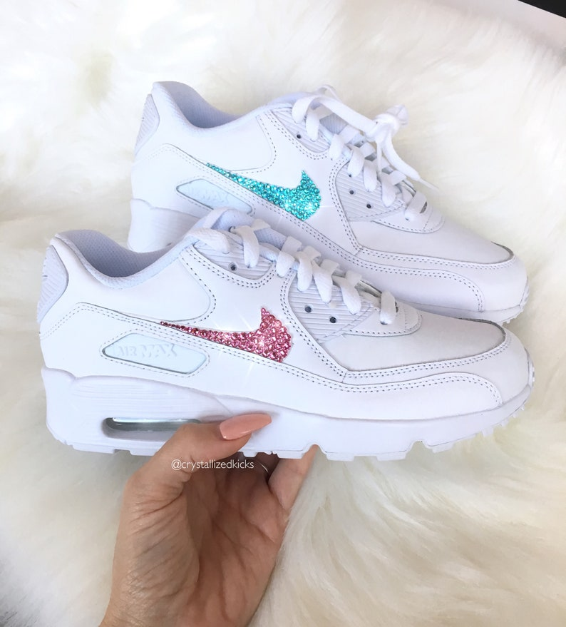 timeless design 875e6 1abd4 Nike Air Max 90 Womens White Shoes Made with SWAROVSKI®   Etsy